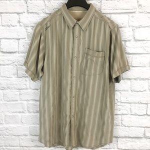 Prana Breathe Button Striped Active T-Shirt Sz XL